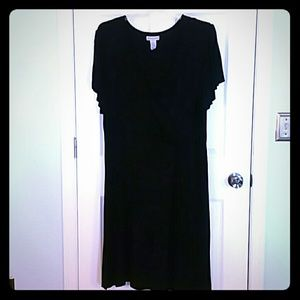 Knit surplice black dress